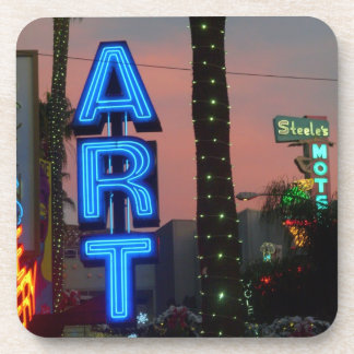Neon Art Sign in Los Angeles at Dusk Coaster