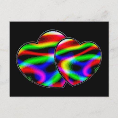 Neon Aurora Hearts postcard