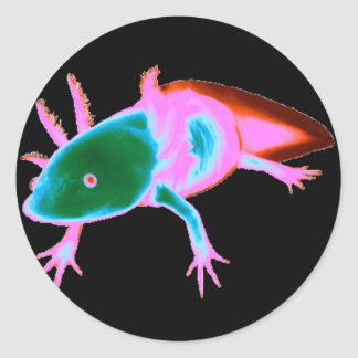 Neon Axolotl Stickers