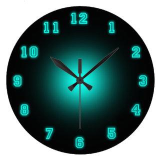 """Neón azul 10,75"""" reloj redondo grande"""