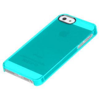 Neón azul brillante ciánico del fondo del color funda clearly™ deflector para iPhone 5 de uncommon