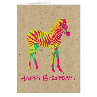 Neon Baby Zebra Psychedelic Funky Retro Birthday Card