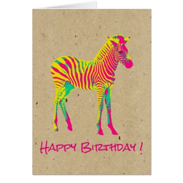 Toddler & Baby themed Neon Baby Zebra Psychedelic Funky Retro Birthday Card