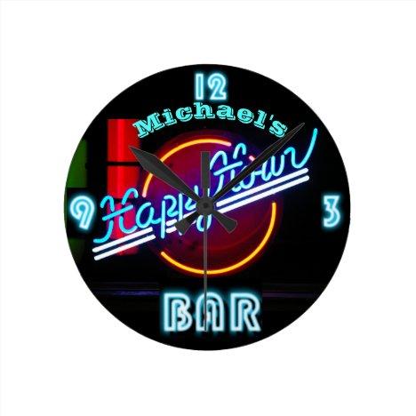 Neon BAR Clock | Custom Happy Hour Den Mancave