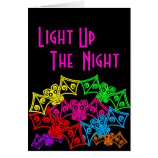 Neon Bats Birthday Card