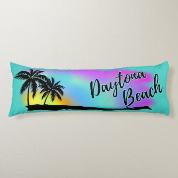 Beach Themed Neon Beach Skies At Daytona Beach Body Pillow