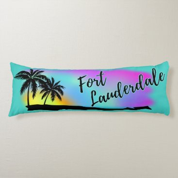 Beach Themed Neon Beach Skies At Fort Lauderdale Body Pillow