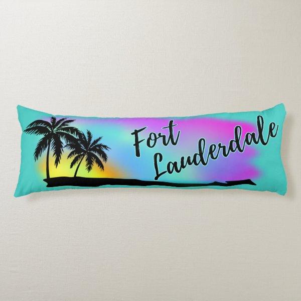 Neon Beach Skies At Fort Lauderdale Body Pillow