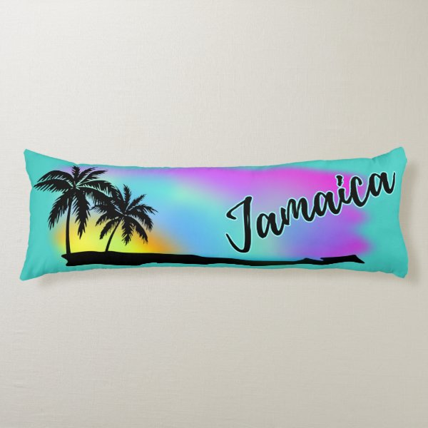Neon Beach Skies At Jamaica Body Pillow