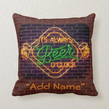 Neon Beer Bar Sign Decorative Throw Pillow Mancave