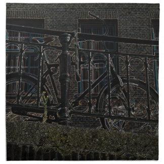 Neon Bicycle Against Railing Napkin