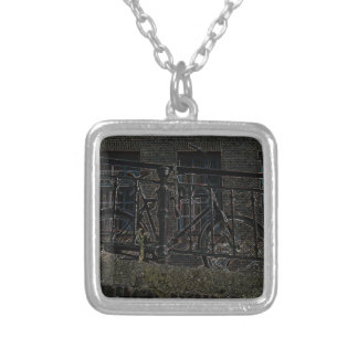 Neon Bicycle Against Railing Square Pendant Necklace