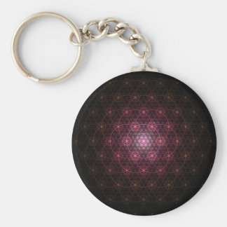 Neon Black Flower of Life Basic Round Button Keychain