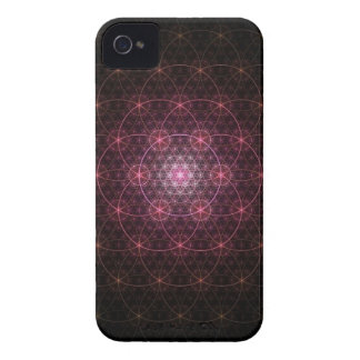 Neon Black Flower of Life iPhone 4 Case