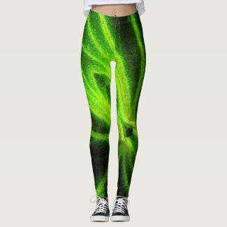 Neon Black Green Abstract Pattern Leggings