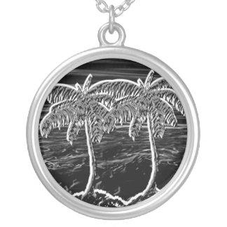 neon black round palm trees custom jewelry