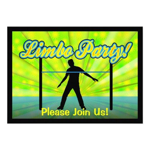 Neon/Black Silhouette Limbo Party Invitations
