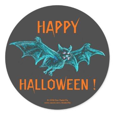 Halloween Themed Neon Blacklight Bat Classic Round Sticker