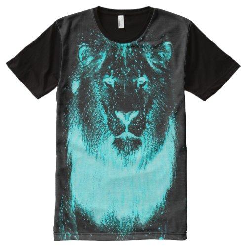 Neon Blacklight Glow In The Dark Wild Lion All_Over_Print T_Shirt