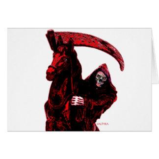 Neon Blood Grim Reaper Horseman Series by Valpyra Greeting Card