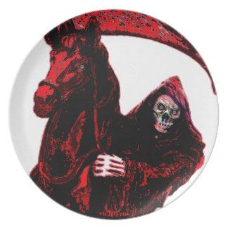 Neon Blood Grim Reaper Horseman Series by Valpyra Dinner Plate