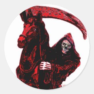 Neon Blood Grim Reaper Horseman Series by Valpyra Round Sticker