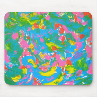 Neon Bloom-Abstract Art Brushstrokes Hand Painted Mouse Pad