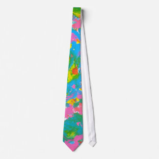 Neon Bloom-Abstract Art Brushstrokes Hand Painted Tie