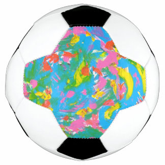 Neon Bloom-Abstract Art Hand Painted Brushstrokes Soccer Ball