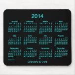Neon Blue 2014 Calendar Mouse Pad