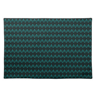 Neon Blue Alien Head Cloth Placemat