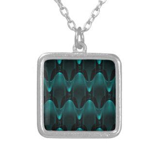 Neon Blue Alien Head Square Pendant Necklace