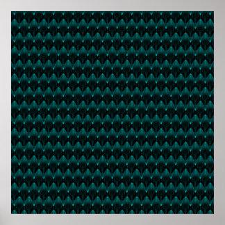 Neon Blue Alien Head Pattern Poster
