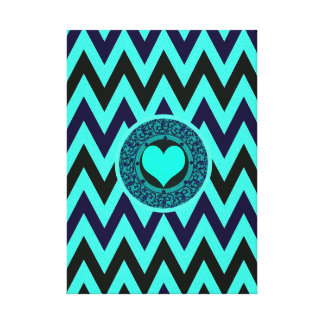 Neon Blue and Black Chevron Heart Stretched Canvas Print