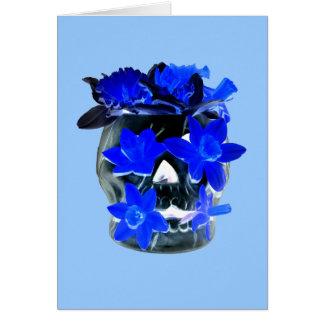 Neon Blue and Black Daffodil Skull Card