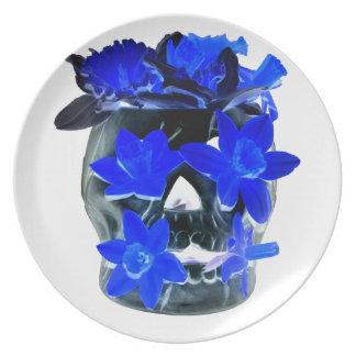 Neon Blue and Black Daffodil Skull Dinner Plate