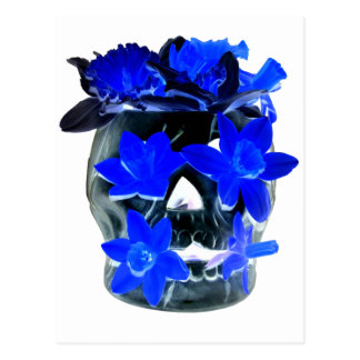 Neon Blue and Black Daffodil Skull Postcard