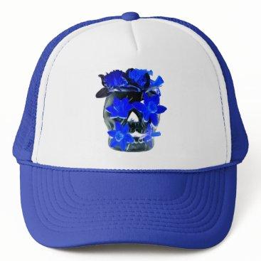 Halloween Themed Neon Blue and Black Daffodil Skull Trucker Hat