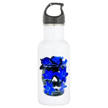 Halloween Themed Neon Blue and Black Daffodil Skull Water Bottle