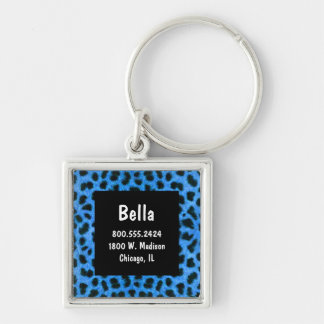 Neon Blue And Black Leopard Fur Pet ID Tag Silver-Colored Square Keychain