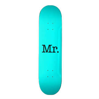 Neon Blue and Black Mr. Wedding Anniversary Quote Skateboard