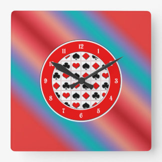Neon blue and red color harmony square wall clocks