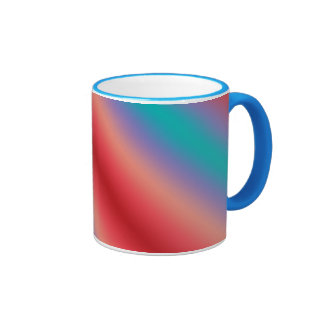 Neon blue and red color harmony ringer mug