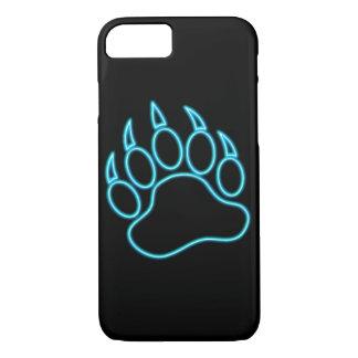 Neon Blue Bear Paw iPhone 7 Case
