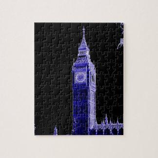 Neon Blue Big Ben Jigsaw Puzzle