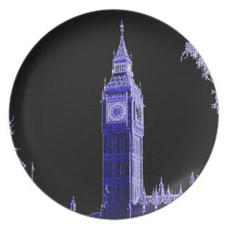 Neon Blue Big Ben Plate