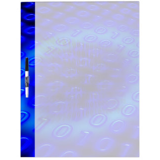 Neon Blue Binary Abstract Dry-Erase Board