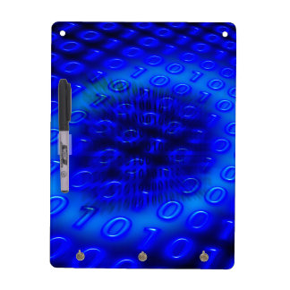 Neon Blue Binary Abstract Dry Erase Board