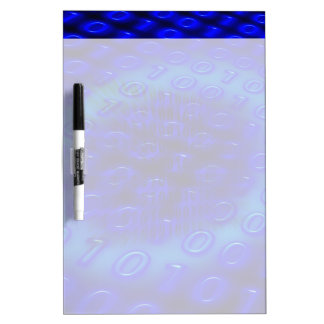 Neon Blue Binary Abstract Dry-Erase Whiteboard