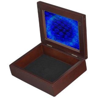 Neon Blue Binary Abstract Keepsake Box